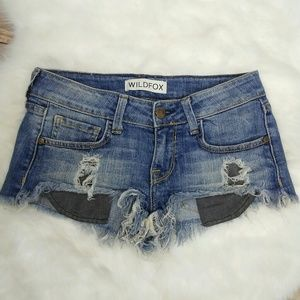 Wildfox Denim Destroyed Frayed Ripped Short Shorts